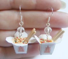 Chinese Noodles Take Out Miniature Food Earrings  by NeatEats, £15.99