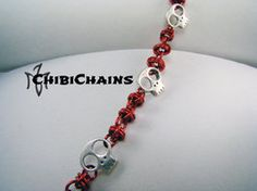 Bracelet - Captive Orbital aka Barrel Weave by Chibichains #Chainmail #chainmaille  #Barrel #bracelet #Chibichains #Skulls