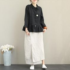 Casual Linen Shirt Women Loose Tops For Autumn - Women Fashion Mode Batik, Vintage Outfits, Hijab Stile, Mode Hijab, Pants Pattern, Linen Dresses, Fashion Outfits, Womens Fashion, Hijab Fashion