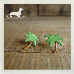 Island Breeze Post Earrings  Palm Tree Green by PickleDogDesign, $6.50
