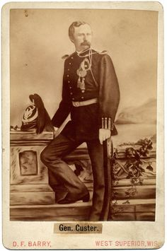 Jose M. Mora's 1876 portrait of George Custer as Commander of the 7th Cavalry. (Albumen print Cabinet Card with a D.F. Barry imprint).