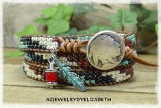 BEADED WRAP BRACELET/ NATIVE AMERICAN STYLE/ SEED BEAD LEATHER WRAP BRACELET/ LEATHER BRACELET/ TRIPLE WRAP BRACELET/ BEADED LEATHER WRAP. THIS BRACELET IS MADE TO WRAP AROUND YOUR WRIST 3 TIMES. PLEASE MEASURE YOUR WRIST SIZE BEFORE YOU ORDER THANK YOU FOR STOPPING BY, PLEASE