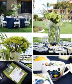 Whimsical tabletop, #blueandgreenwedding , blue & green wedding decor, #multicoloredplates , Sheraton Carlsbad, #navylinens , www.blissevent.com