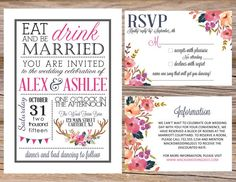 Eat Drink & Me Married Watercolor Antler & Floral Invitation Suite / Available in digital format or professionally printed / Wedding Invitation, RSVP, Information or Accommodation Insert Card, Postcard, Save The Date / Country Chic