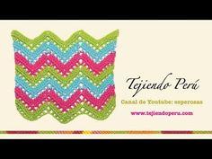 Punto zig zag calado en crochet - YouTube