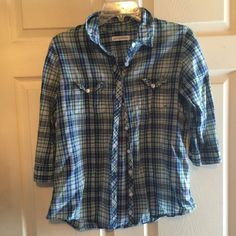 Aeropostale button down blouse Three quarters sleeves good condition size L but would fit a medium better Aeropostale Tops Blouses