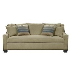 The Sutton Sofa is a luxurious sofa with its bench cushion, bed pillow style back pillows and a pair of goose feather 20-inch throw pillows. Sutton is available Made To MeasureTM as 321-51 in widths from 31 to 120 inches. A skirted version is also available. Medium Mahogany is the standard finish. Sable finish shown. …