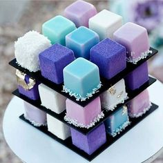 Purple and blue cube cake Mini Cakes, Cupcake Cakes, Cupcakes, Beautiful Cakes, Amazing Cakes, Unicorn Cake Pops, Grolet, Fancy Desserts, Mousse Cake