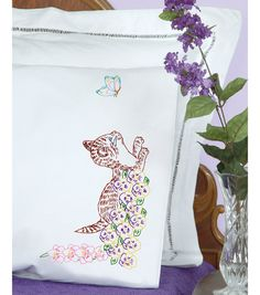 Jack Dempsey Stamped #embroidery  KITTEN #pillowcases #DIY #crafts