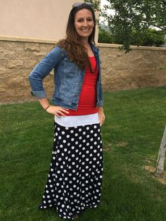 How to Style a LuLaRoe Maxi. Classic jean jacket with a maxi is always a favorite look.