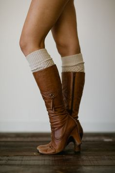 Oatmeal Knitted Leg Warmer or Boot Topper with Open Lace Knit and Vintage Scalloped Lace Trim for Women and Girls in Oatmeal Lace Socks, Boot Socks, Fall Winter Outfits, Winter Wear, Winter Clothes, Walk In My Shoes, Me Too Shoes, Knit Leg Warmers, Boot Toppers