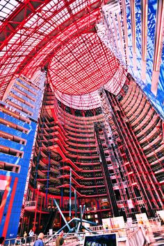 James R. Thompson Center, Chicago formerly known as the State of Illinois Building. Interior view of the Atrium. Each level houses offices, stores, etc.