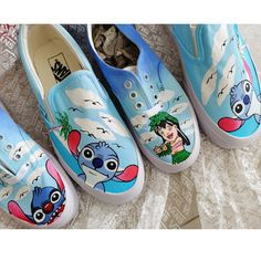 Hand Painted Lilo and Stitch Shoes Painted Canvas Shoes, Hand Painted Shoes, Unique Christmas Gifts, Unique Gifts, Painting Shoes, Types Of Painting, Lilo And Stitch, On Shoes, Vans
