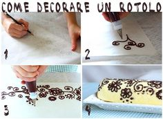 How to cheat and decorate a beautiful cake! Pipe on waxed paper and refrigerate, then unpeeled and place! This looks easy enough! Just Cakes, Cakes And More, Fondant Cakes, Cupcake Cakes, Japanese Roll Cake, Cake Recept, Patterned Cake, Log Cake, Chocolate Art