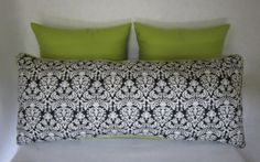 Damask and Lime Decorative Pillow by PillowLoftHomeDecor on Etsy, $94.99
