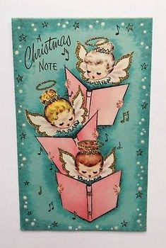 Vintage Christmas Card Angel Girl Pink Book Gold Glitter Music Star Halo Wing A+