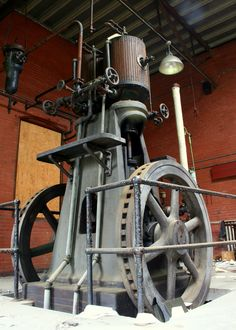 This is an early steam powered ammonia compressor/engine built by the Frick Company of Waynesboro, PA. Likely of early 20th century vintage. This may have been saved by an Industrial Museum in York, PA before demolition.