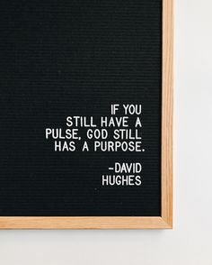 if you still have a pulse, God still has a purpose. david hughes