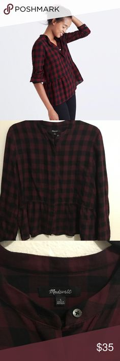 EUC Madewell Lakeside Peplum Plaid Top L This top is soo gorgeous! Hate to part with it but it's pretty hot for PR weather 🌝🔥. Great condition. Very light flannel material. Great with white skinny jeans! Madewell Tops Blouses