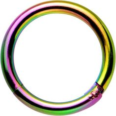 """16 Gauge 5/16"""" Rainbow Anodized Hinge Segment Ring Circular Barbell ❤ liked on Polyvore featuring jewelry, rings, circle ring, hinged ring, rainbow jewelry, circle jewelry and rainbow ring"""