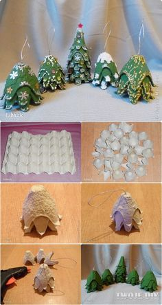 Kids Christmas Ornaments, Christmas Crafts For Kids To Make, Diy Christmas Decorations Easy, Holiday Crafts, Christmas Diy, Kids Crafts, Egg Carton Crafts, 242, Ornament Crafts