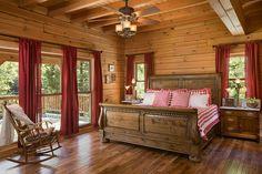 Interior, horizontal, master bedroom, Daniel residence, Moss, Tennessee; Honest Abe Log Homes