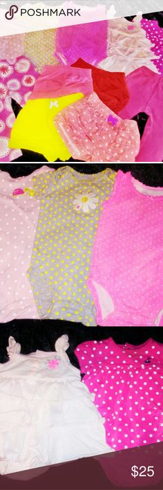 Baby Girls Bundle 11 Pieces of Carter's Brand Baby Girls Clothing Sizes 6-9 Months. Every Item is in Excellent Condition. 2 Short Sleeved Onesies and 1 Without Sleeves, 2 One Piece Dress Outfits that button on the bottom, 2 pairs of Stretchy Pull On Pants, 1 Pair of Bloomers and 1 Pair of Stretchy Pull On Shorts, and 2 Pairs of Pull On Shorts Carter's Other