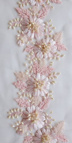 Ribbon Embroidery Patterns Hand-embroidered trim with pink raffia flowers and drop-shaped pearls Hardanger Embroidery, Hand Embroidery Stitches, Silk Ribbon Embroidery, Hand Embroidery Designs, Beaded Embroidery, Embroidery Patterns, Embroidery Supplies, Zardozi Embroidery, Embroidery Tattoo