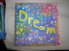 Dream Mixed Media Art paper mache 9 by 9 Hearts by edgegallery, $25.00