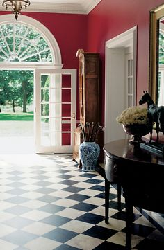 Ralph Lauren Paint Hunting Coat Red sets the tone for a stately entry hall