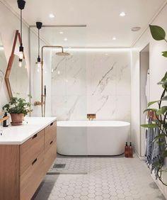 Gorgeous Modern Bathroom Design And Decor Ideas - Badezimmer - Bathroom Decor Modern Master Bathroom, Minimalist Bathroom, Modern Bathroom Design, Bathroom Interior Design, Home Interior, Master Bathrooms, Bath Design, Small Bathrooms, Modern Bathrooms