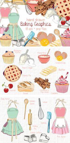 Hand Drawn Clip Art - Kitchen Baking by Stevie Ann Clark on Creative Market Baking Wallpaper, Scrapbook Recipe Book, Pink Apron, Green Apron, Baking Logo, Cake Logo, Blue Berry Muffins, Kitchen Art, Food Illustrations