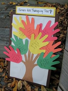 Toddler Thanksgiving Crafts - Sippy Cup Mom, have everyone write what they are thankful for on a hand cutout and glue on tree, love this idea!