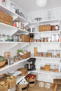 Kitchen pantry with shiplap trim