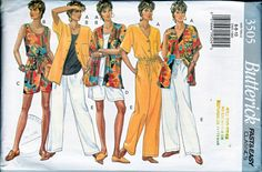 """Butterick 3505 Misses Top Shorts Pants Sewing Pattern Sizes  18-22  OOP   Tank takes only 7/8 yard 60"""" in all sizes to 22.  1994"""