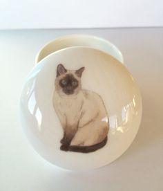 Caja de la baratija de pequeño Gato siamés