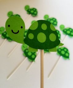 Turtle Cupcake Toppers turtle theme tortoise by BellasPerfectParty Turtle Birthday Parties, Turtle Party, 10th Birthday, Baby Shower Themes, Shower Ideas, Turtle Book, Tortoise House, Turtle Cupcakes, Green Tutu