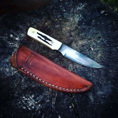 Handmade bird and trout small game drop point hunter. An excellent addition to you hunting kit, this knife is made of high carbon steel, stag scales, and features a hand rubbed antique satin finish. From Carter & Son Forge by J.D. Carter Blacksmith. Check us out on etsy, facebook, and instagram.