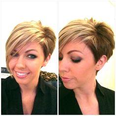 LOVE THIS!!!!!  Cut and Color!!!  Asymmetrical short hair.