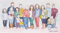 Custom Family Watercolor Portrait by MadeByMadieArtShop on Etsy