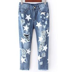 Full Star Print Narrow Feet Jeans (550 MXN) ❤ liked on Polyvore featuring jeans