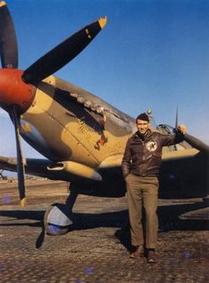 "Spitfire ""Lonesome Polecat"" Pilot Jerry Carver, 308th Squadron Spit, Italy 1944 #aviationpilotuniform #aviationpilotwings"