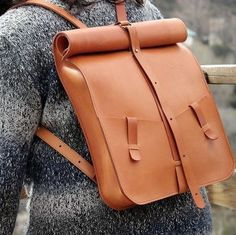 Leather backpack. Computer backpack. Designed by Ludena.