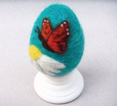 Needle+Felted+Egg++Monarch+Butterfly+on+Teal+by+theFeltasaurus,+$17.50