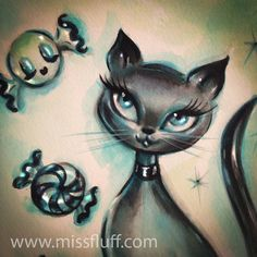 Kitty dreams of Candy. Drawing by by Claudette Barjoud, a.k.a Miss Fluff…