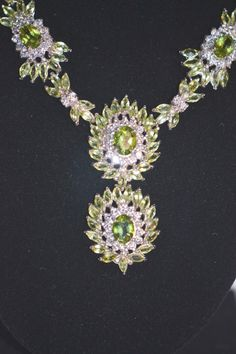 Peridot in Sterling with Man Made Diamonds by LustfulJewels