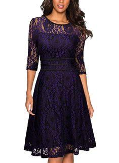 Miusol Women's Vintage Floral Lace 2/3 Sleeve Cocktail Evening Party Dress (Medium, Black and Purple)