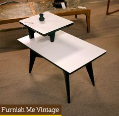 Spunky atomic age end table. Graphic black and white surfaces… tops ...