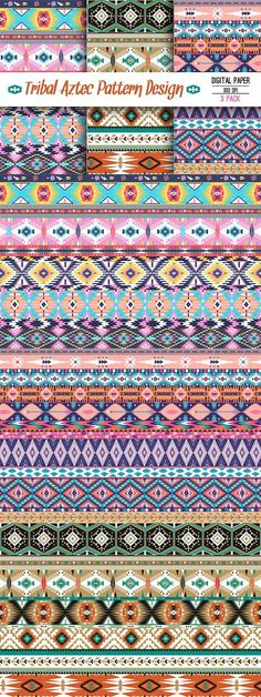 Collection Bright Aztec Patterns. Patterns