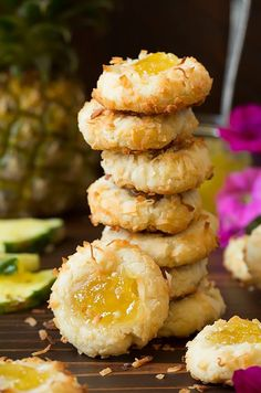 Pineapple Coconut Thumbprint Cookies | pineapple | | pineapple recipes | | pineapple benefits | #pineapple #pineapplerecipes http://www.pulpstoryjuice.com/